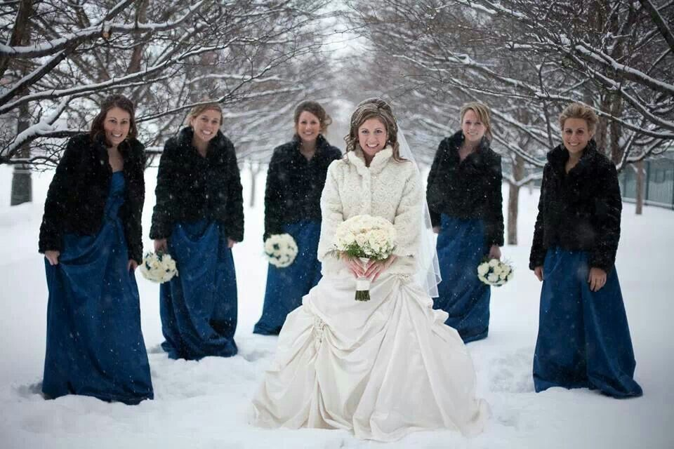 Tribe Style For Winter Bridesmaid Dresses Ideas Wintry White Wedding
