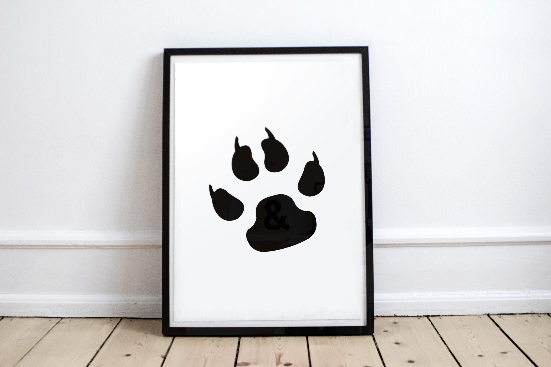 1 affiche poster tableau picto empreinte de patte de chien en noir et blanc chien pinterest. Black Bedroom Furniture Sets. Home Design Ideas