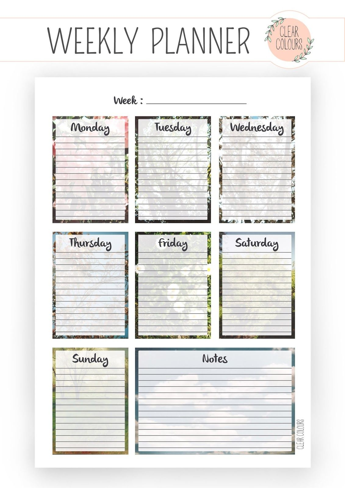 clear colours: Weekly Planner/ Planificador semanal