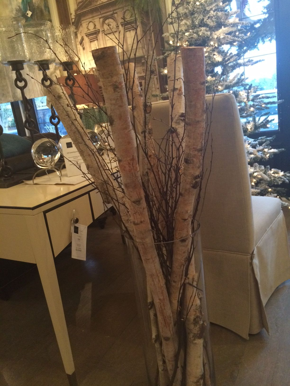 4 Foot Tall Birch Poles With Rustic Twig In A Tall Glass Vase Perfect For Almost Any Spot In Your Home For Glass Vase Decor Large Floor Vase Tall Vase Decor