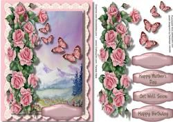 Beautiful Roses And Butterflys In A Alpine Meadow