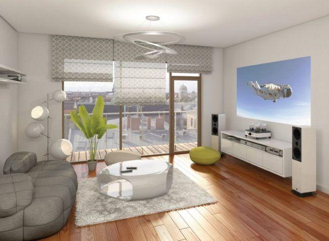 Home Entertainment Zuhause Einrichtung Wohnzimmer Beamer Hochglanz Weisse
