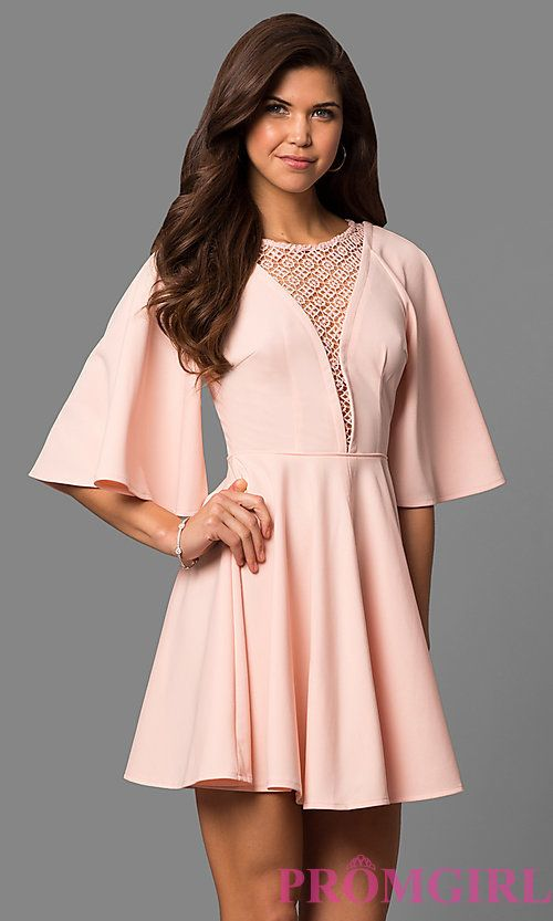 e36750250bc8 Short A-Line Bell-Sleeve Party Dress with Lace Inset | Stuff ...