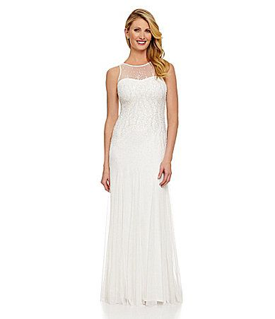 Adrianna Papell Sleeveless Beaded Gown #Dillards | MnM Wedding ...