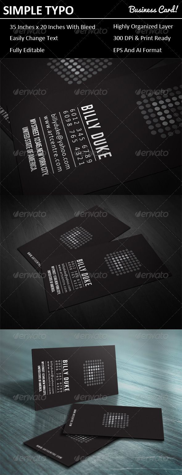 Simple Typo Business Card Typo Business Cards And Minimal - 2 x 35 business card template