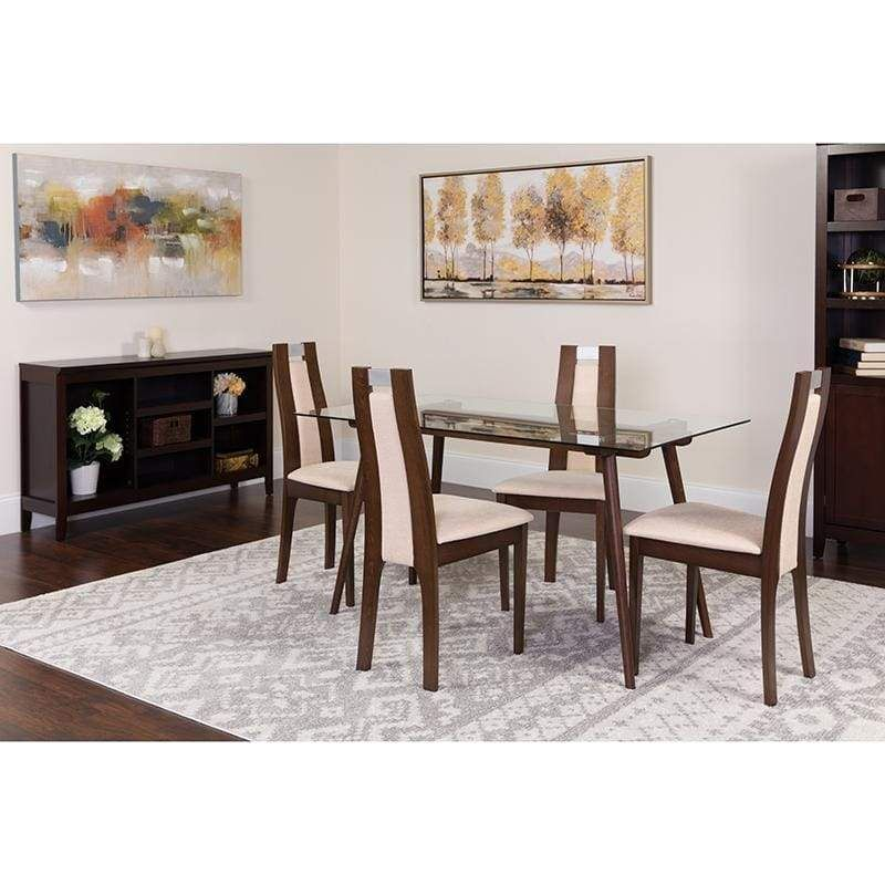 Fairview 5 Piece Espresso Wood Dining Table Set With Glass Top And