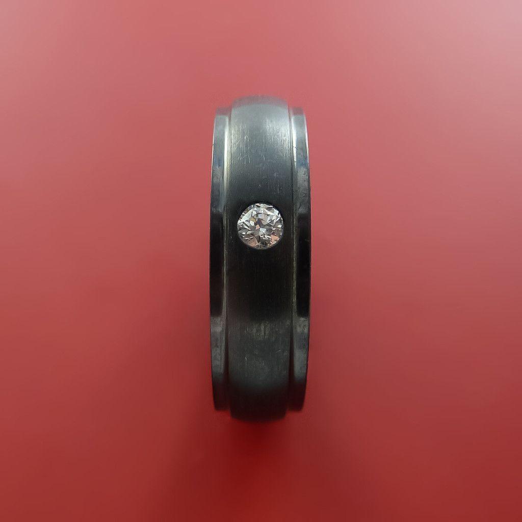 Black Zirconium Silver Inlay Ring with Raised Beveled Moissanite ...