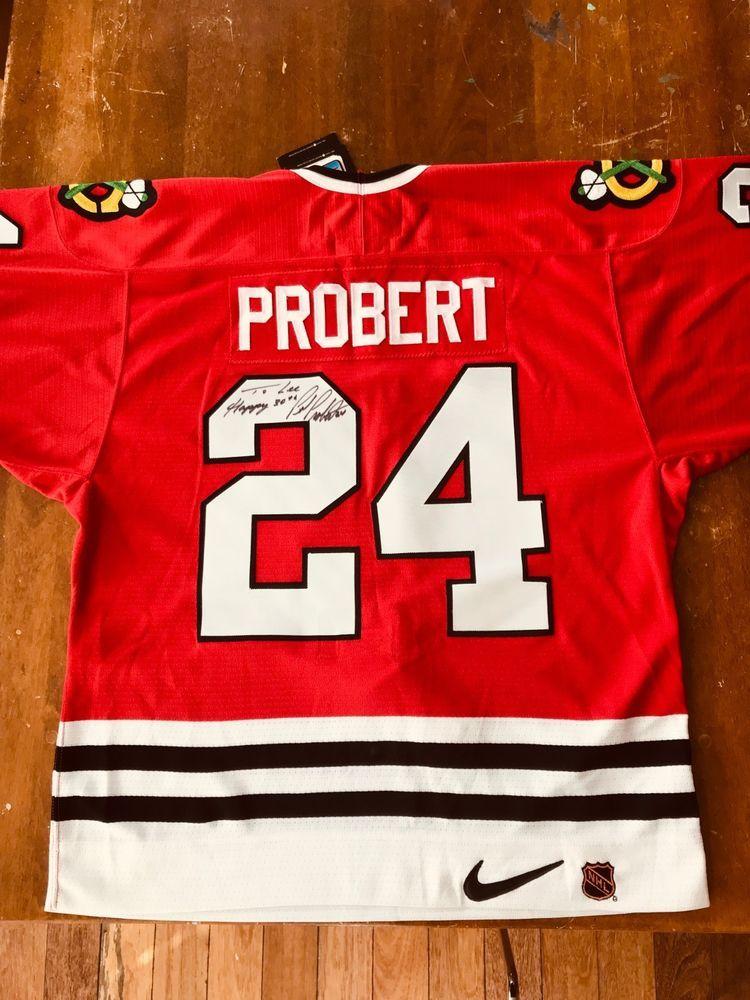 3dc7dc409 Chicago Blackhawks NHL Hockey Jersey - Signed by Bob Probert  24 - NWT  (eBay Link)