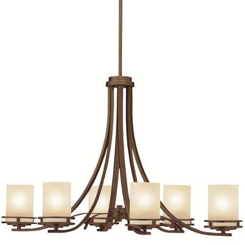 Kichler Hendrik 6 Light 36  Wide Chandelier with Satin Etched Glass Shades - Olde Bronze