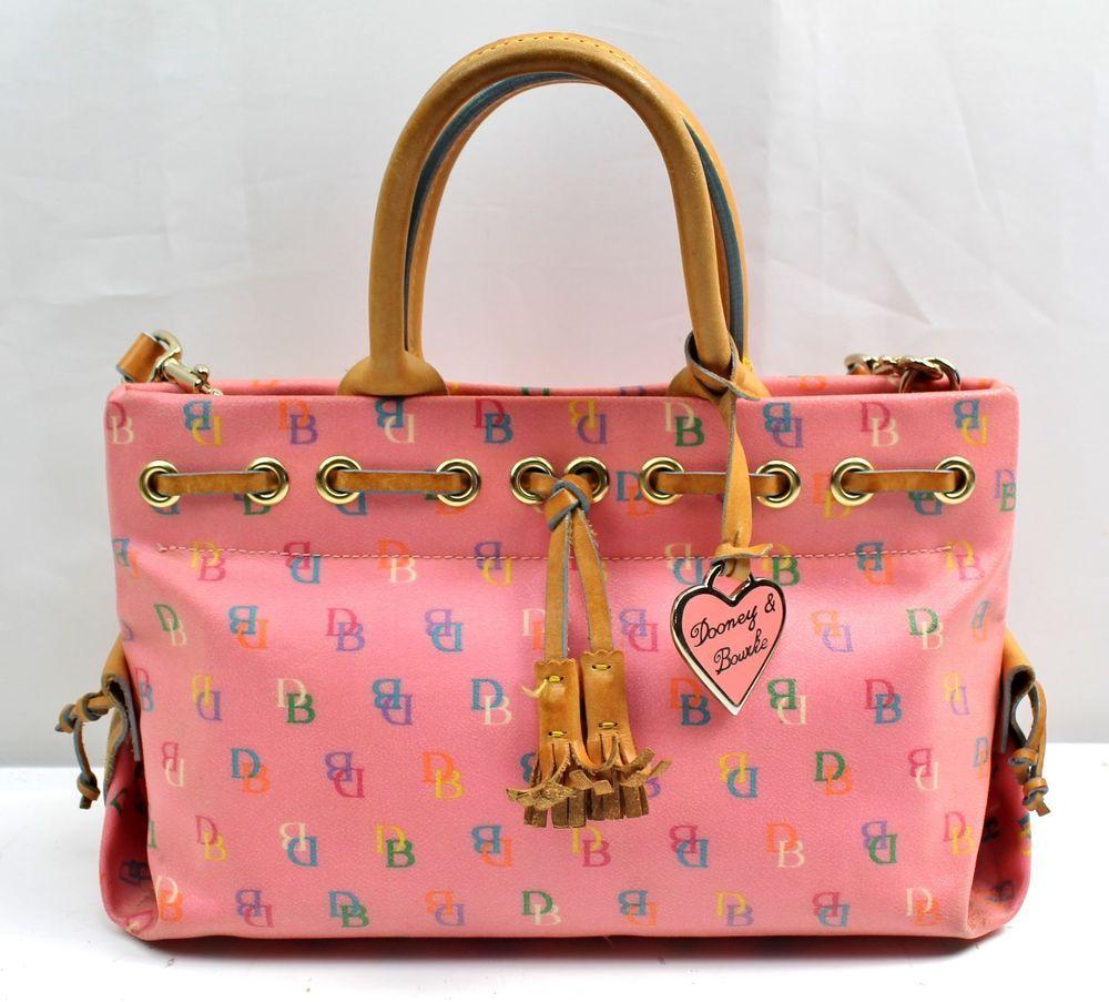 Dooney & Bourke Pink Multi-Color Signature Coated Canvas Shopper ...