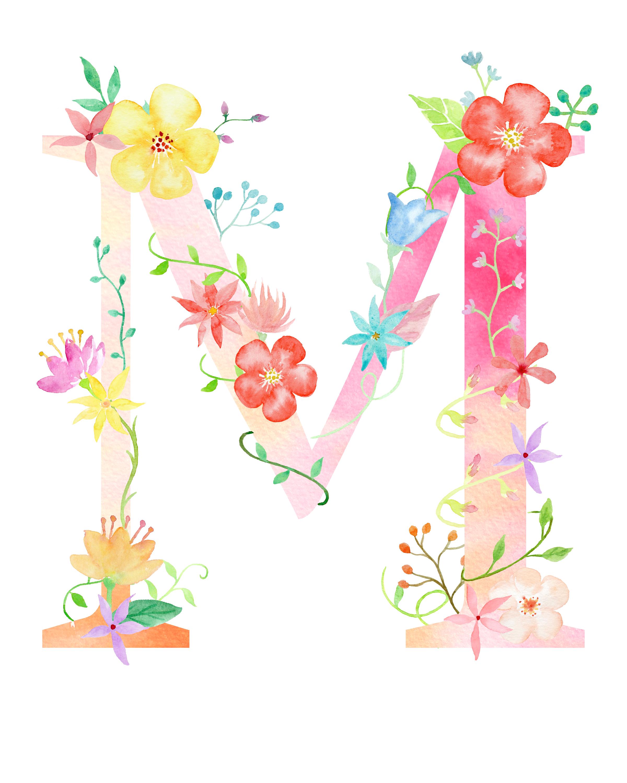 Floral Alphabet Clipart Letters Clipart Watercolor Flowers Alphabet Floral Alphabet Clip Art Wedding Monogram Clip Art Hand Drawn Alphabet Clip Art Flower Alphabet Paper Clip Art