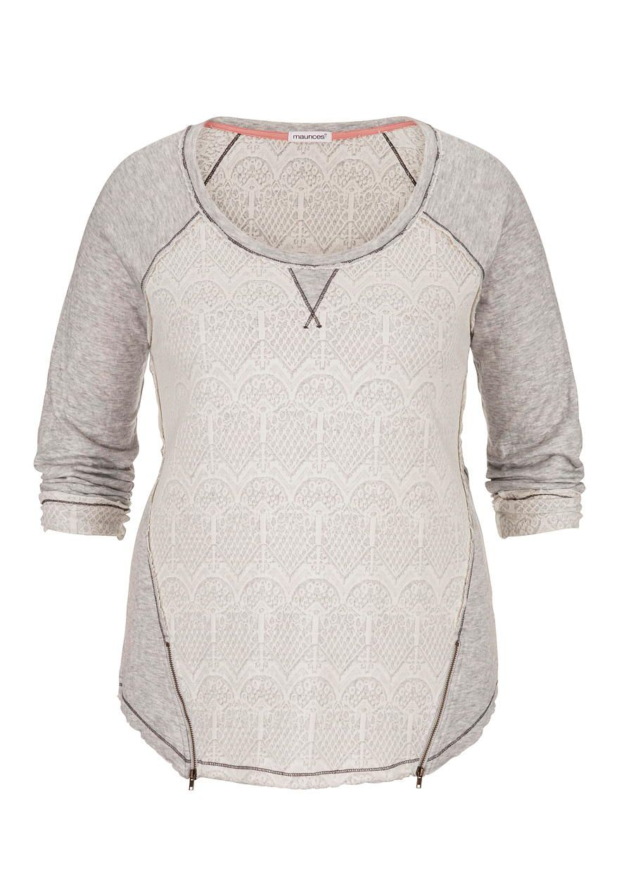 lace front plus size sweatshirt with zippers