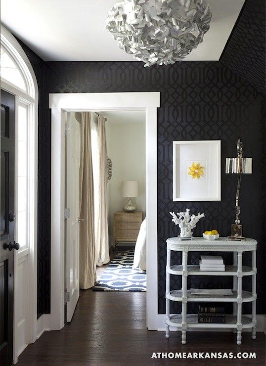 Gorgeous Entryway With Walls Done In Black Wallpaper Home Best