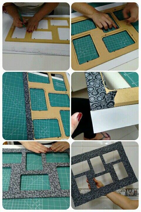 porta retrato com tecido autocolante eu que fiz. Black Bedroom Furniture Sets. Home Design Ideas