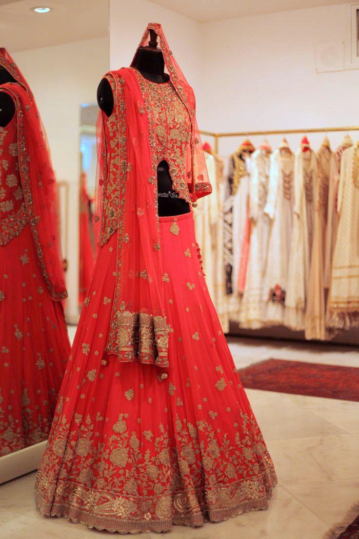 coral lehenga. Indian wedding lehenga