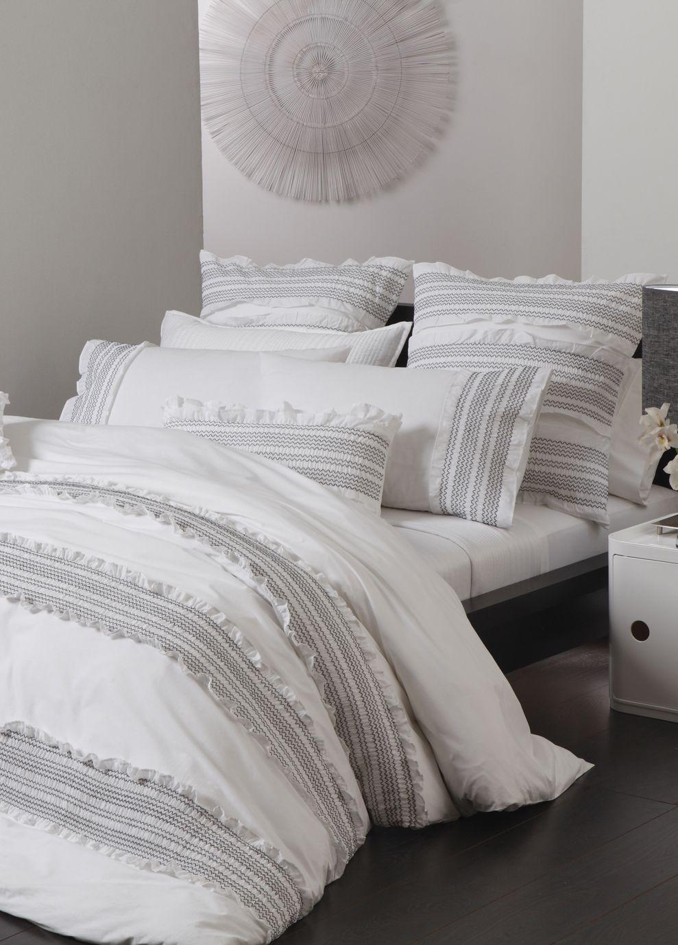 Platinum Bedding Mia White Quilt Cover Set Super King White