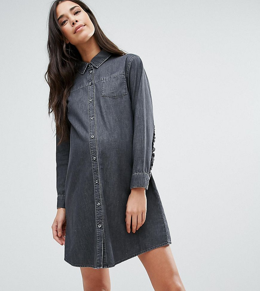 Get this asos maternitys cowboy dress now click for more details get this asos maternitys cowboy dress now click for more details worldwide shipping asos maternity denim frill back shirt dress in washed black black ombrellifo Image collections
