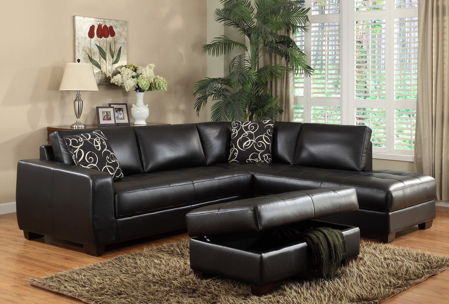 Leder Sectional Schlafsofa Mit Chaiselongue Sessel Diese