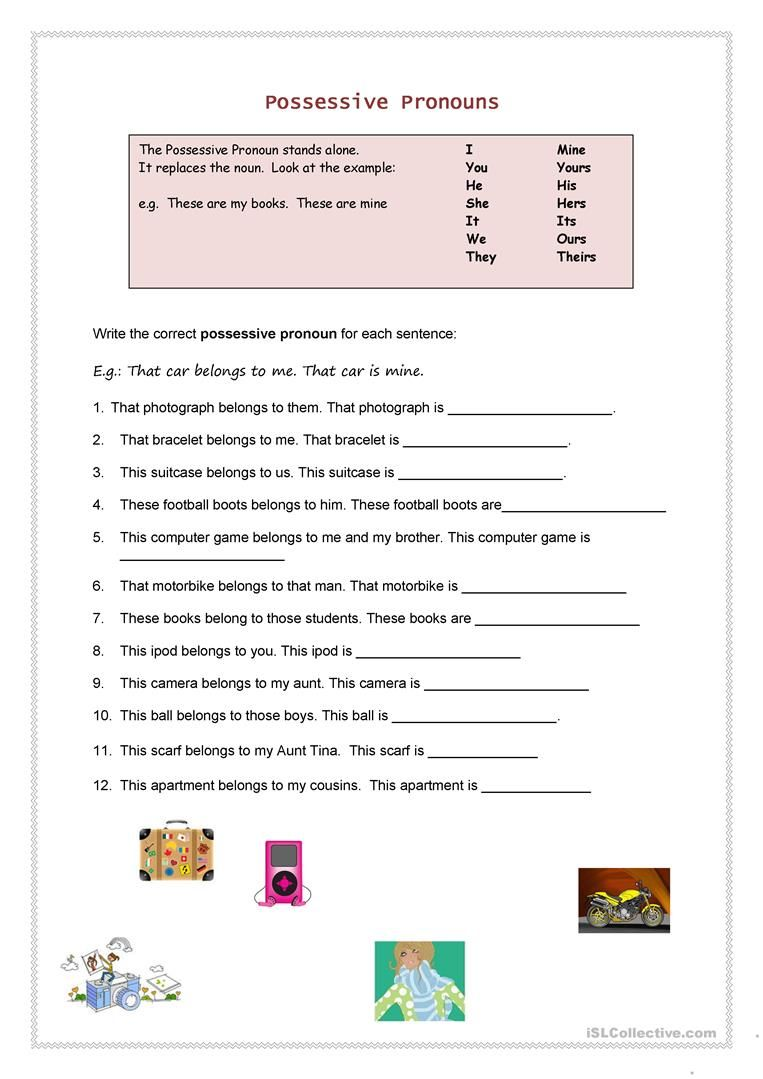Possessive Pronouns worksheet - Free ESL printable worksheets made by  teachers   Possessive pronoun [ 1079 x 763 Pixel ]