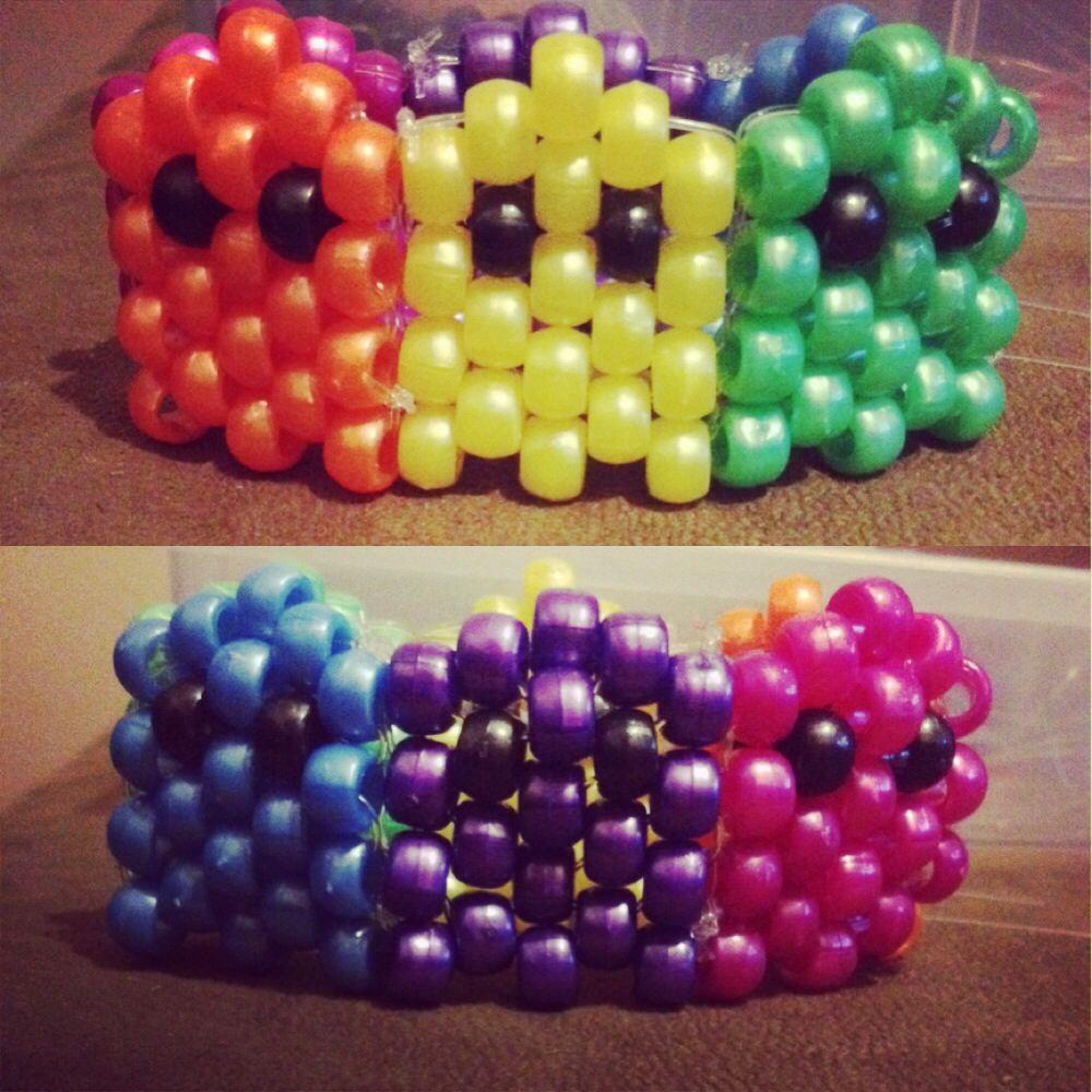 Rainbow Pacman Ghost Kandi Cuff Kandi Kreations Kandi
