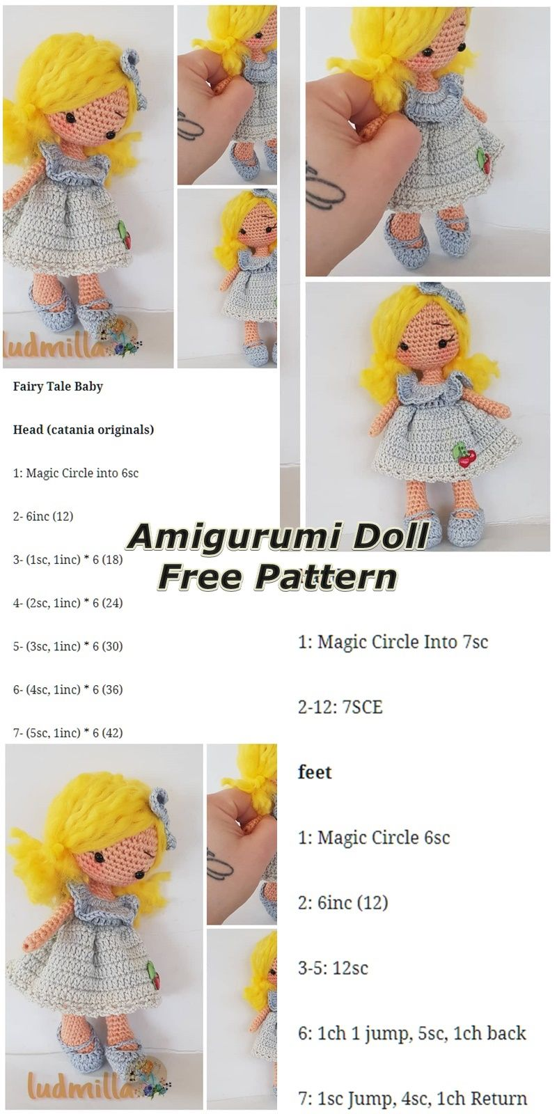 In this article we will share the amigurumi doll fairy tale free crochet pattern...
