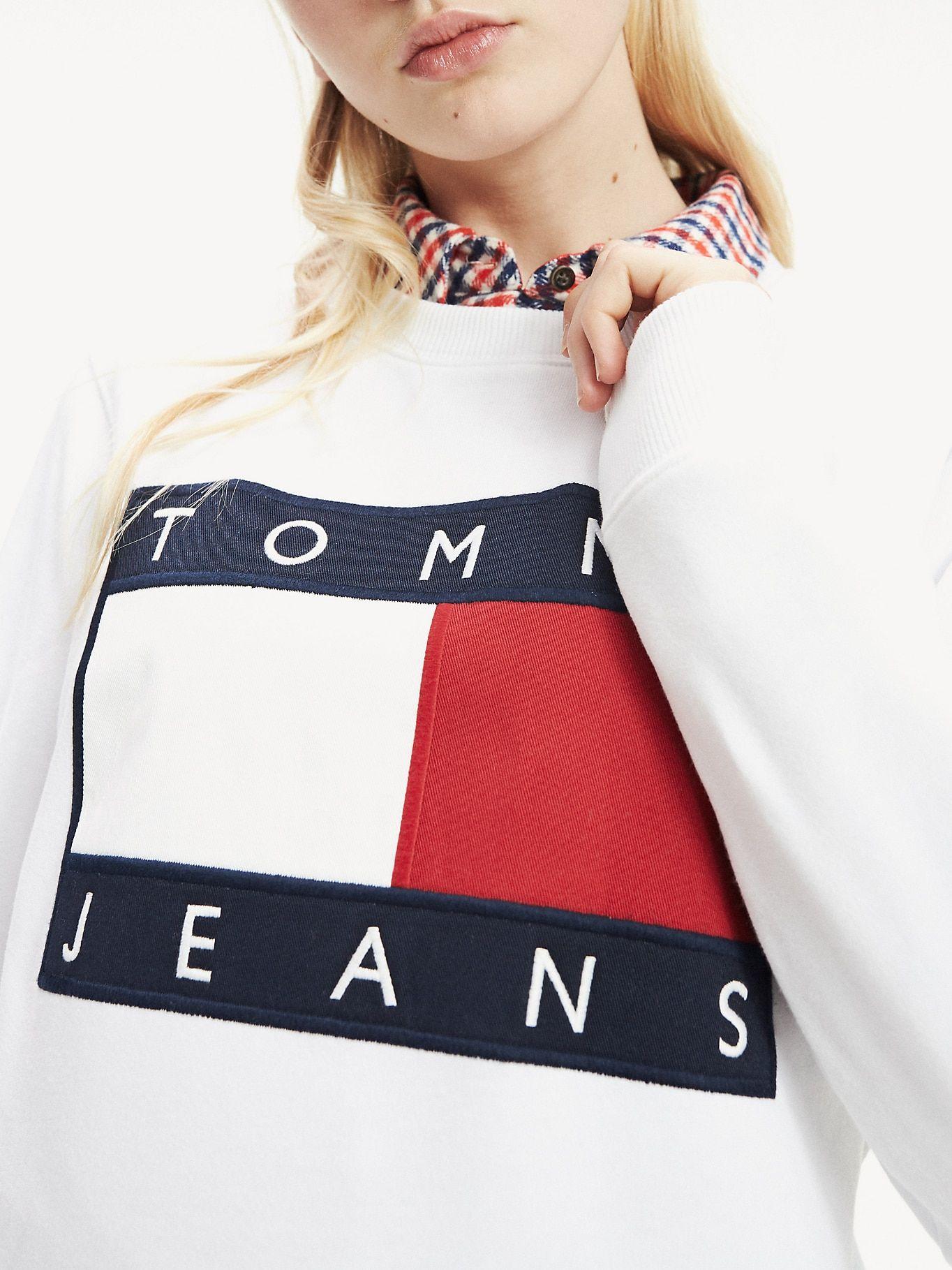 Logo Fleece Sweatshirt Tommy Black Tommy Hilfiger Sweatshirts Women Tommy Hilfiger Women Tommy Hilfiger [ 1819 x 1364 Pixel ]