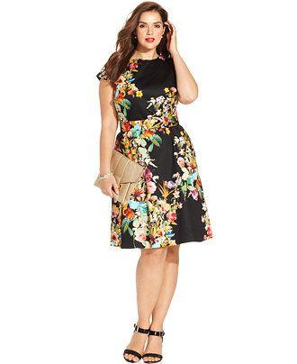 Spense Plus Size Cap-Sleeve Floral-Print A-Line Dress - Dresses - Plus Sizes - Macy's