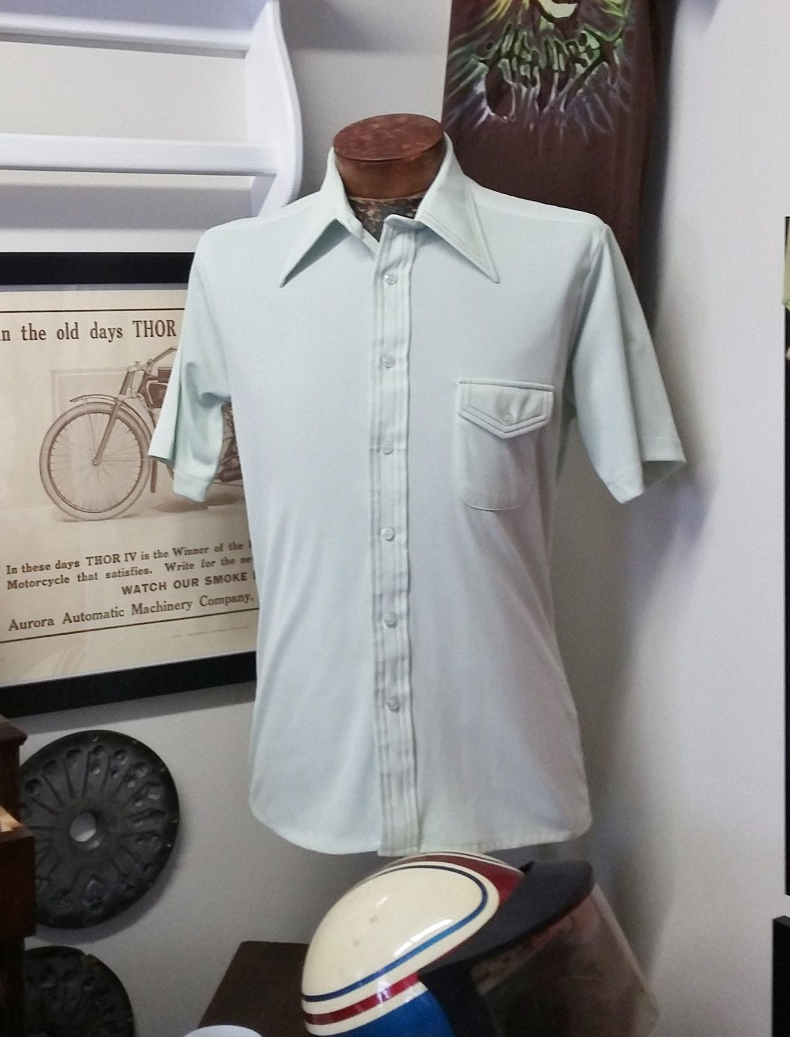 Vintage Mens Shirt Paul Arnold Polyester Short Sleeve Button Down