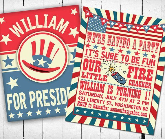 4th Of July Invitation Birthday Fourth Turning 1 First Patriotic USA Printable
