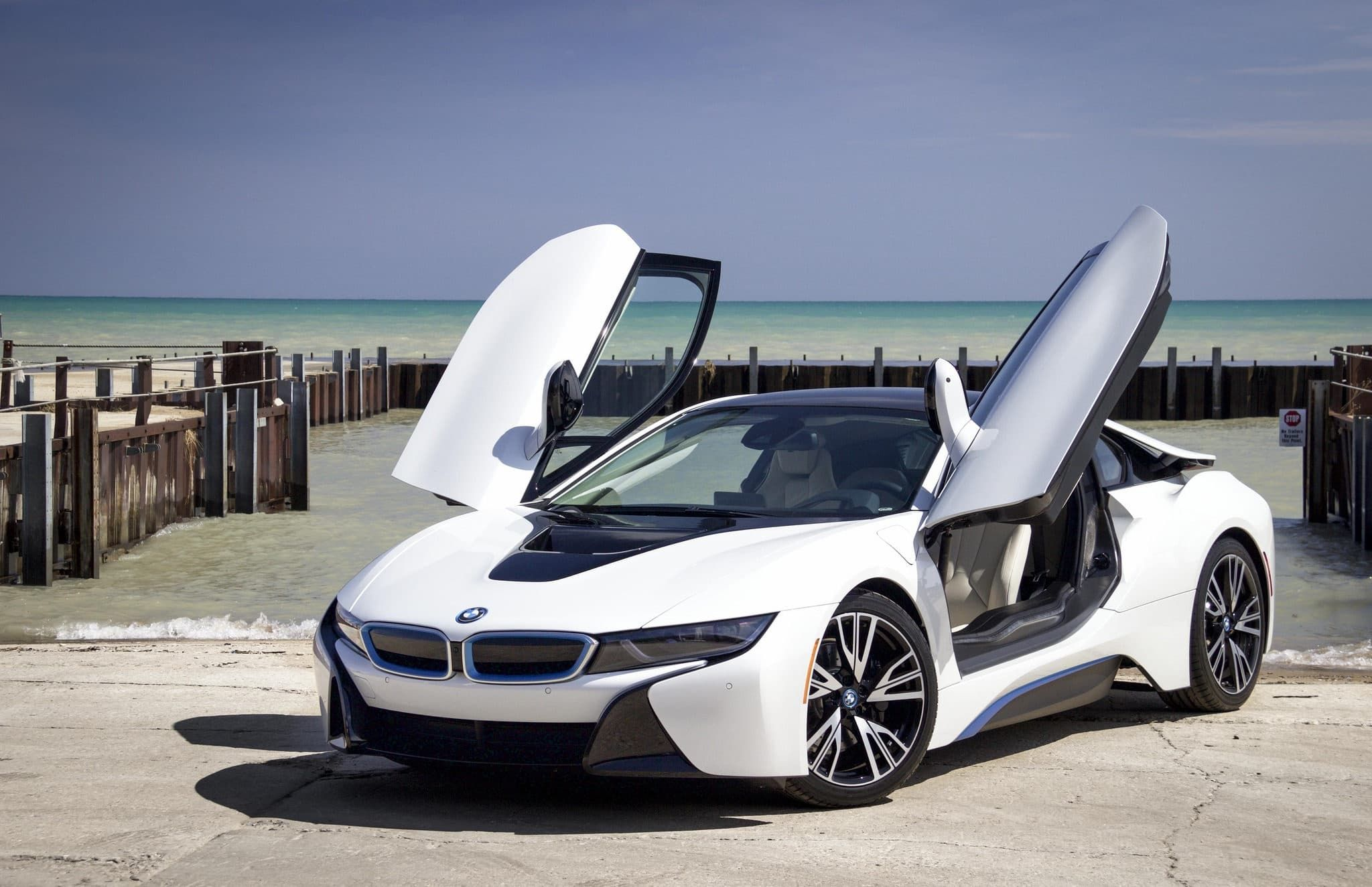 Bmw I8 2016 White Hd Pictures Sky Sea Supercars Bmw I8 Bmw Cars