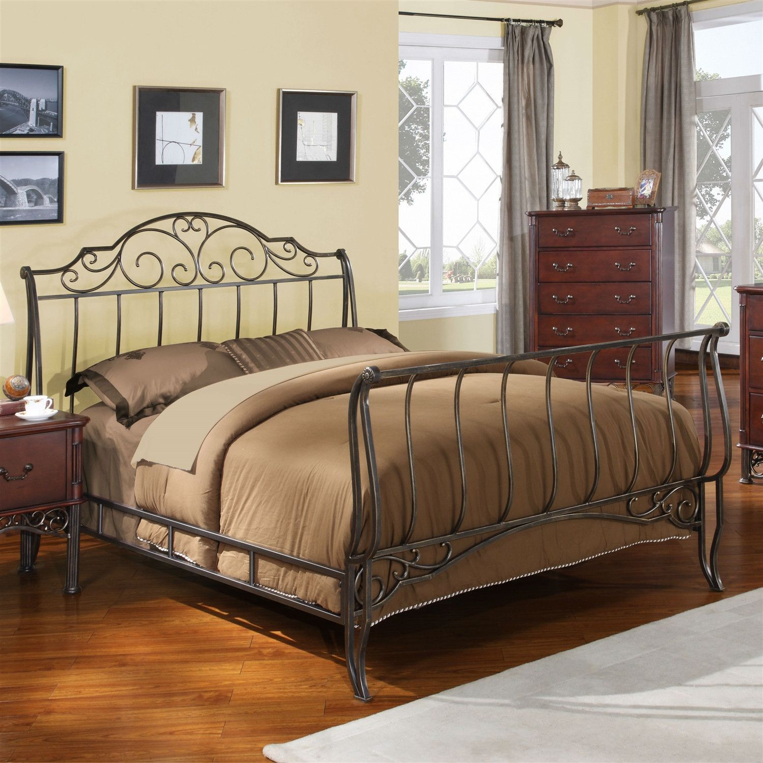 Full size metal sleigh bed in antique bronze cast iron for Full size footboard