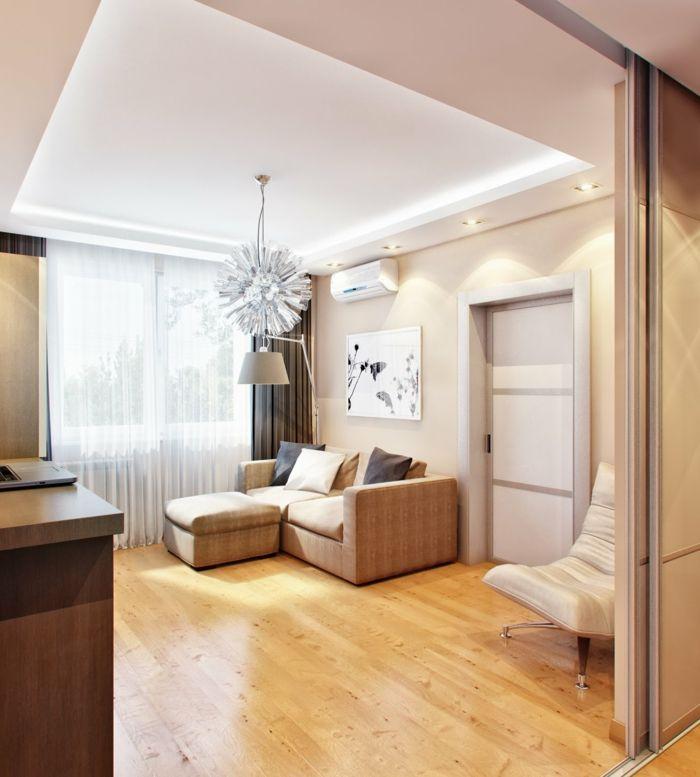design bodenbelag wohnzimmer laminatboden luftige gardinen leuchter - Laminat Grau Wohnzimmer