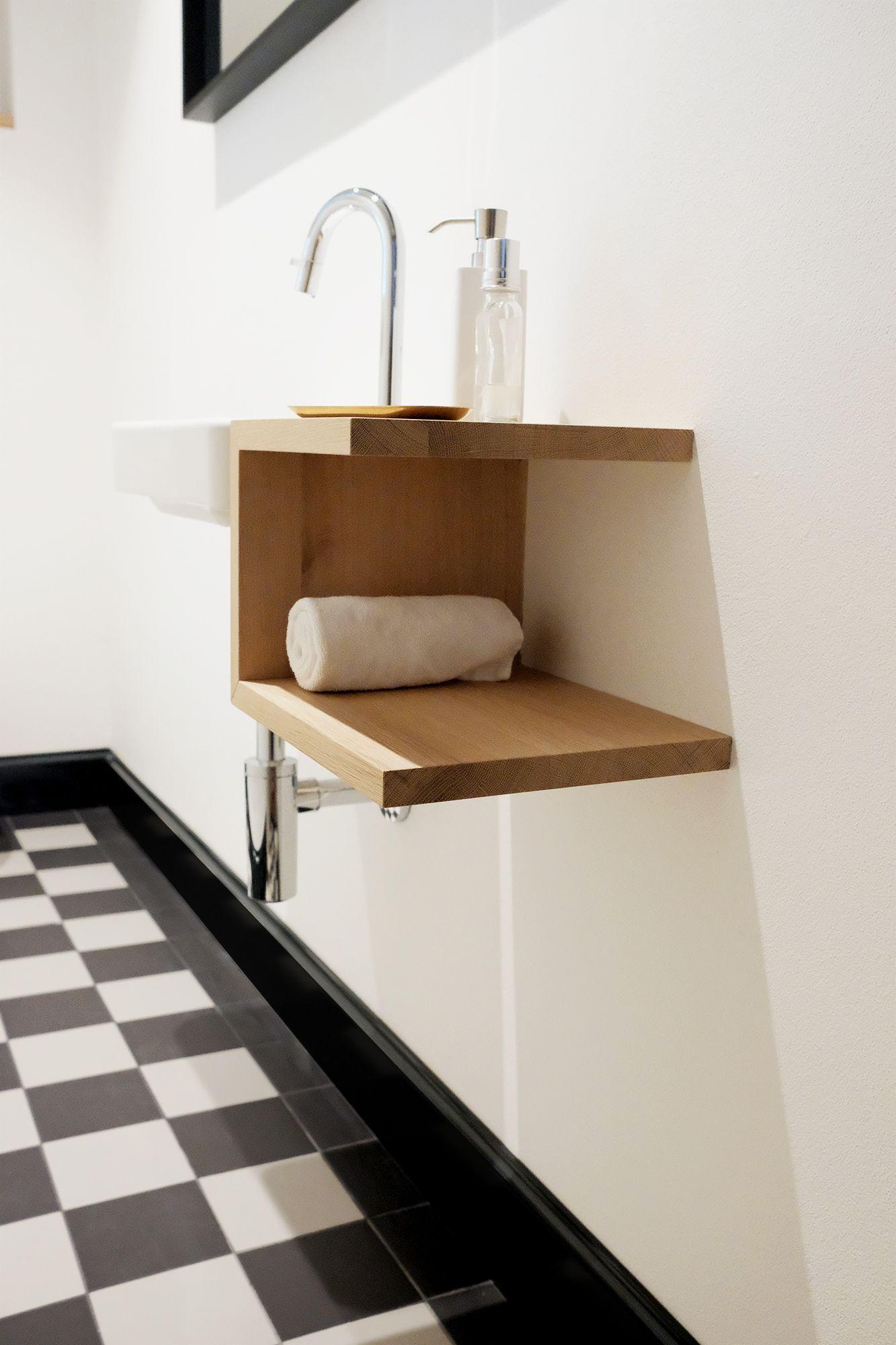 Praktische Ablage Zum Waschbecken Aus Massiver Eiche Badezimmer Ablage Badezimmer Waschbecken