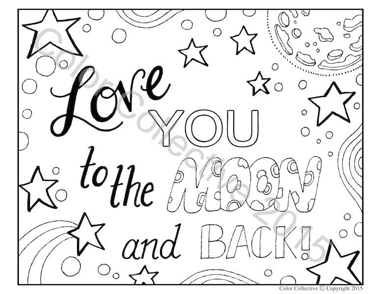 Adult Coloring Page Digital Download Love You To The Moon And