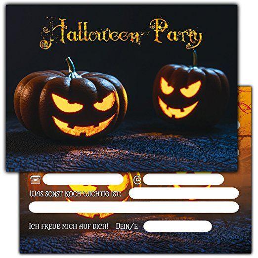 12er Set Halloween Einladungen // Gruselige Kürbis Einladungskarten Für  Eure Halloweenparty // Auch Für