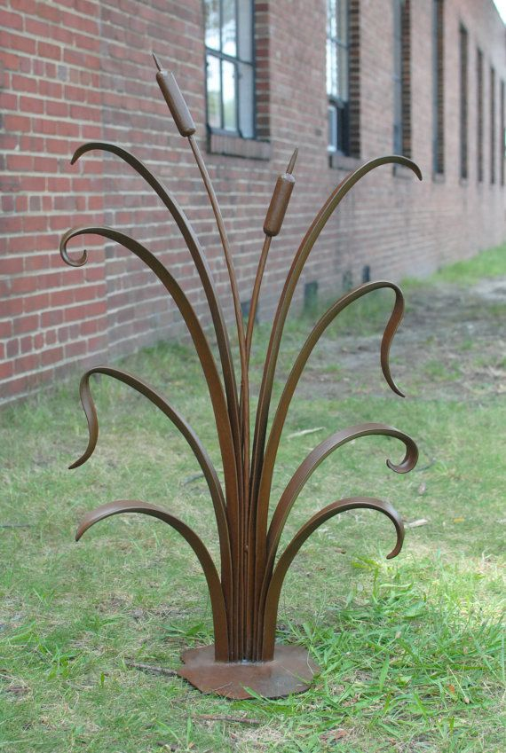 Hand-forged Garden Sculpture. Cattails with Rust Patina by Phoenix ...