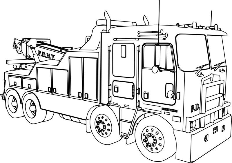 Kenworth Wrecker Fire Truck Coloring Page Gambar Anak