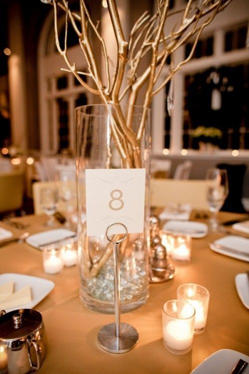Gold silver branch centerpiece spray painting for Twig centerpieces for weddings