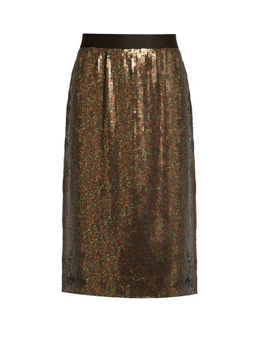 TIBI Sequin-embellished skirt. #tibi #cloth #skirt
