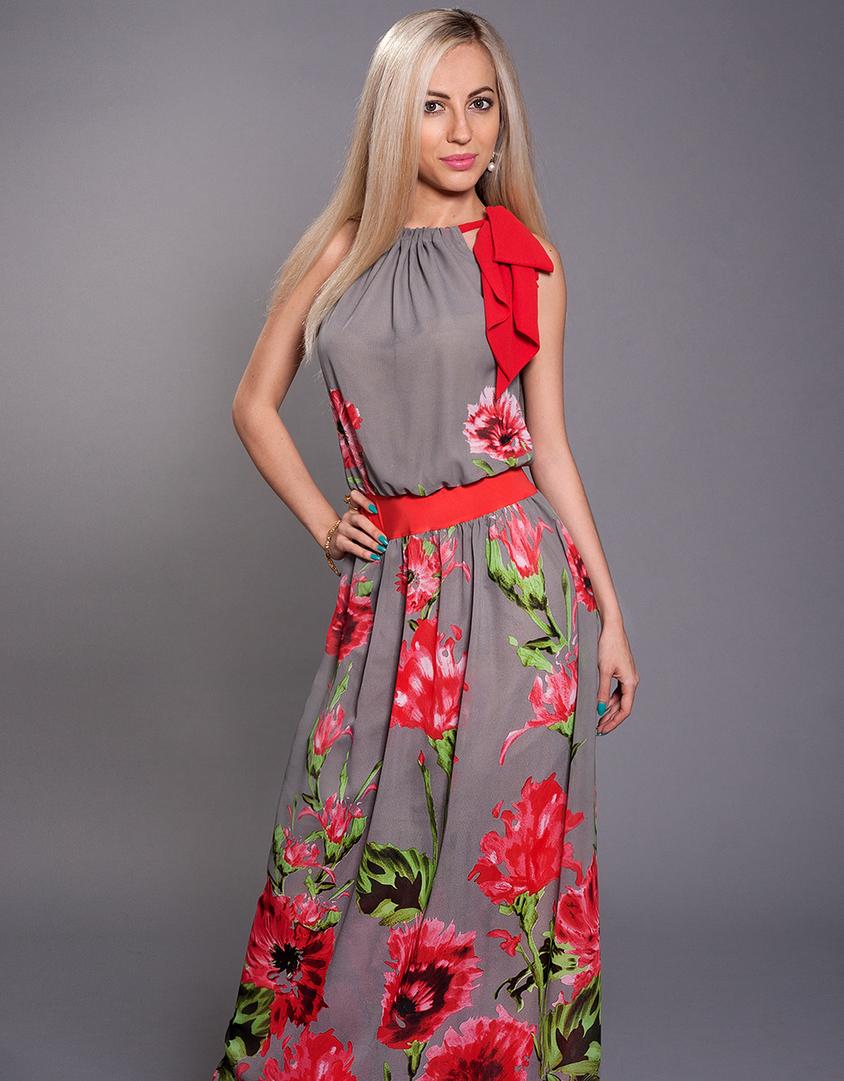 Довга літня сукня-американка з квітами - Товари - Жіночий одяг замовити  через інтернет 45eeb5717cad5