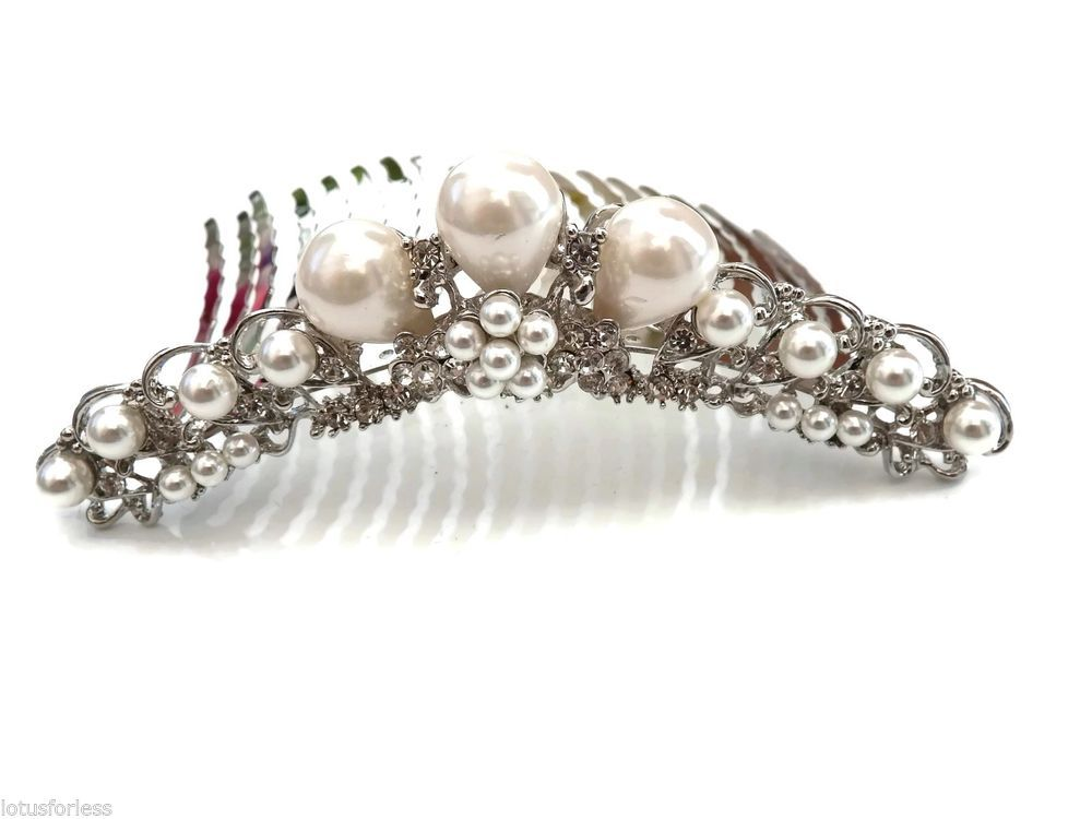 Stunning Vintage Look Large Crystal Pearl silver Hair Comb Slide Bridal Prom