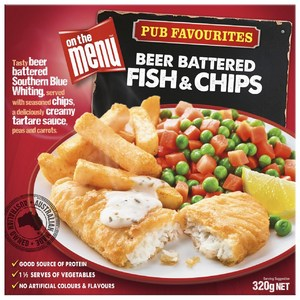 On The Menu Frozen Beer Battered Fish Chips Coles Online Fish And Chips Frozen Beer Beer Battered Fish
