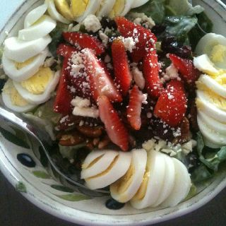 My favorite salad, this is seriously soo good!! Lettuce, yogurt, fruit, cheese, eggs and nuts:)