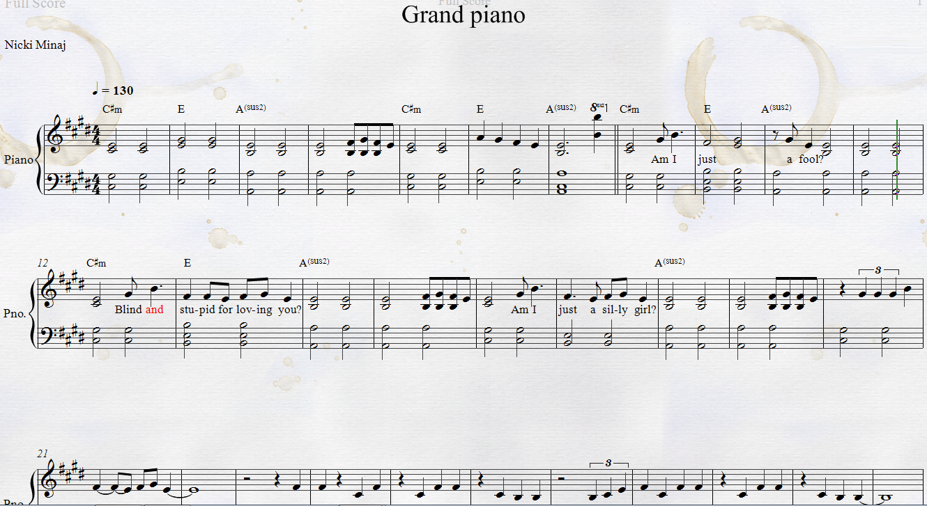 Nicki Minaj Grand Piano Sheet Music With Lyrics And Chords Divertissement