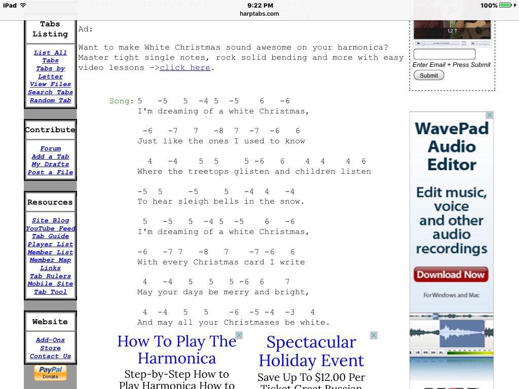 Christmas songs. 15 SONGS. And harmonica tabs Silent night