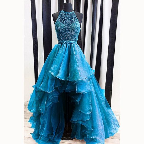 Photo of High Low Prom Dress Beading Evening Outfits M9039