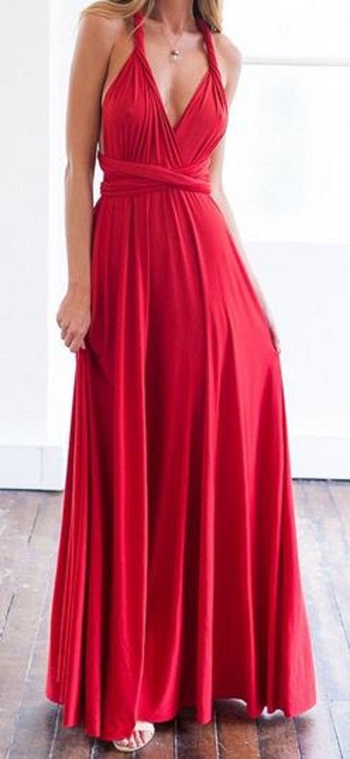 So Pretty! Elegant Wine Red Plunging Neck Maxi dress