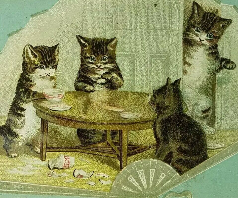 Anthropomorphic Cats Dining At Table Spilled Milk Embossed Fan Victorian 1880 S Anthropomorphic Victorian Spilled Milk