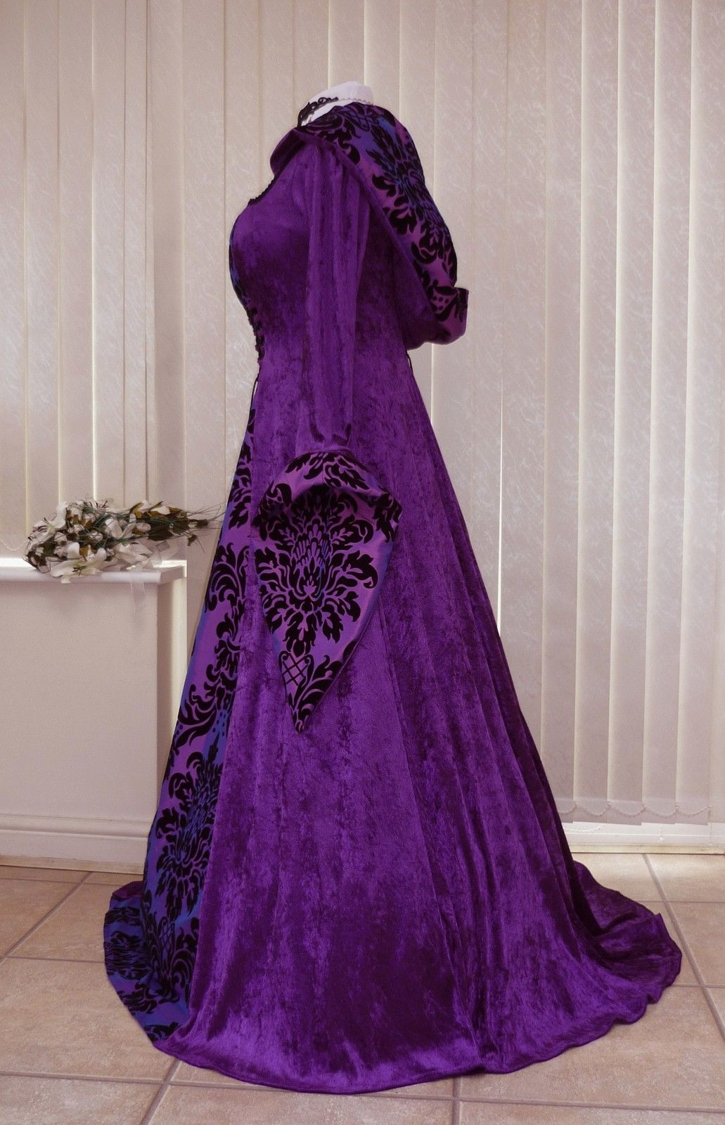 Purple Gothic Whitby Medieval wedding dress hooded renaissance Pagan ...