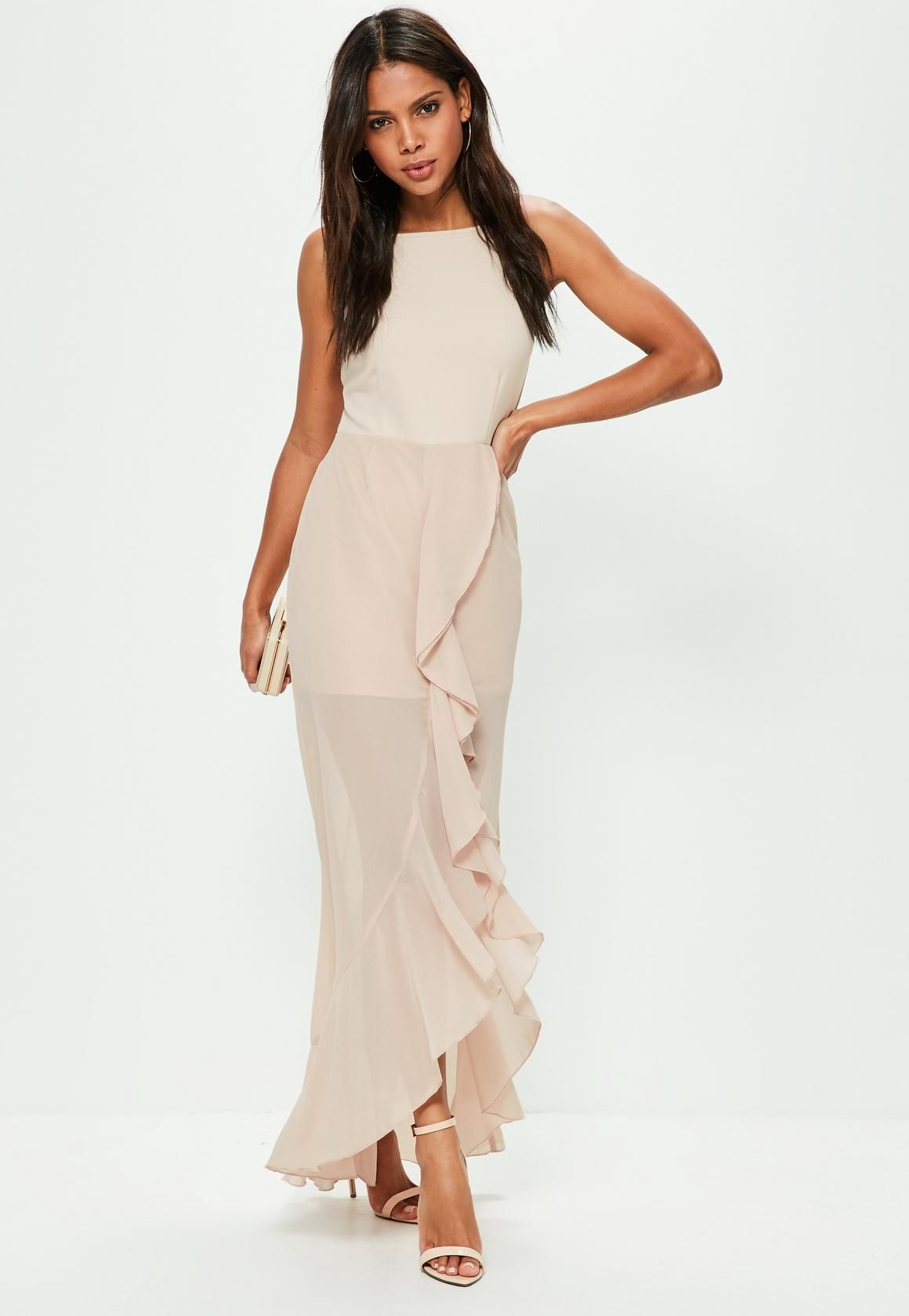 Missguided nude us neck frill detail maxi dress bridesmaids
